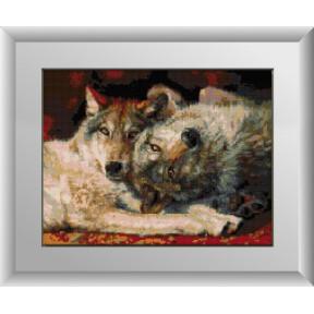 Набор для рисования камнями алмазная живопись Dream Art Игривые волки (квадратные, полная) 30231D