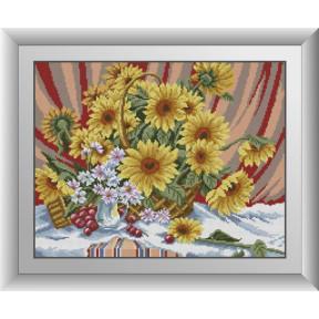 Набор для рисования камнями алмазная живопись Dream Art Летний букет (квадратные, полная) 30249D