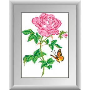 Набор для рисования камнями алмазная живопись Dream Art Роза с бабочкой (квадратные, полная) 30258D