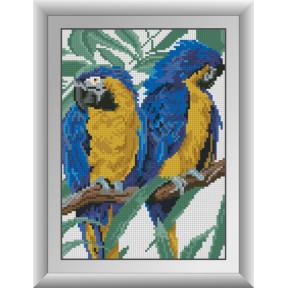 Набор для рисования камнями алмазная живопись Dream Art Два попугая (квадратные, полная) 30293D