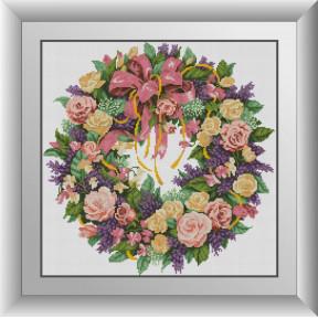 Набор для рисования камнями алмазная живопись Dream Art Венок из роз (квадратные, полная) 30377D