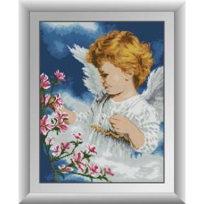 Набор для рисования камнями алмазная живопись Dream Art Ангел с цветами (квадратные, полная) 30378D