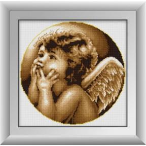 Набор для рисования камнями алмазная живопись Dream Art Задумчивый ангел (квадратные, полная) 30396D