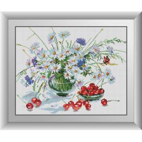 Набор для рисования камнями алмазная живопись Dream Art Ромашки и черешня (квадратные, полная) 30399D