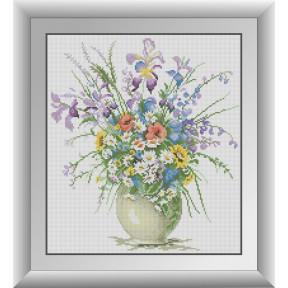 Набор для рисования камнями алмазная живопись Dream Art Полевые цветы (квадратные, полная) 30403D