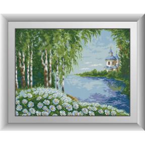 Набор для рисования камнями алмазная живопись Dream Art Березы у реки (квадратные, полная) 30424D