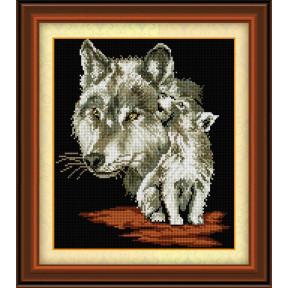 Набор для рисования камнями алмазная живопись Dream Art Волчица с волчонком (квадратные, полная) 30446D