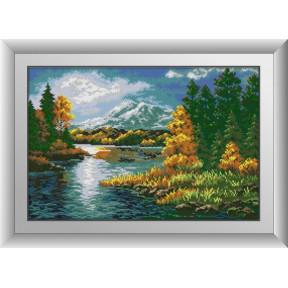 Набор для рисования камнями алмазная живопись Dream Art Затишье на реке (квадратные, полная) 30463D