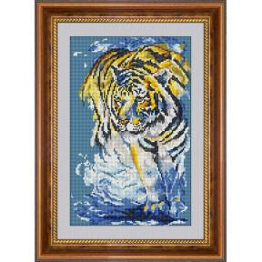 Набор для рисования камнями алмазная живопись Dream Art Тигр в море (квадратные, полная) 30479D