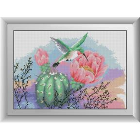 Набор для рисования камнями алмазная живопись Dream Art Колибри и кактус (квадратные, полная) 30489D