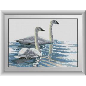 Набор для рисования камнями алмазная живопись Dream Art Изящные лебеди (квадратные, полная) 30491D