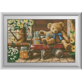 Набор для рисования камнями алмазная живопись Dream Art Медвежонок с медом (квадратные, полная) 30494D