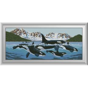 Набор для рисования камнями алмазная живопись Dream Art Семья касаток (квадратные, полная) 30497D