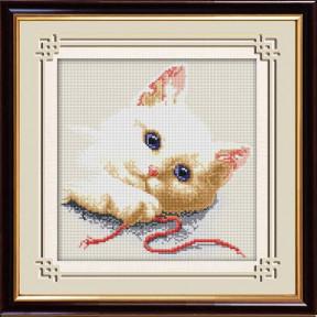 Набор для рисования камнями алмазная живопись Dream Art Игривый котенок (квадратные, полная) 30504D