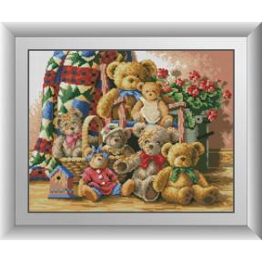 Набор для рисования камнями алмазная живопись Dream Art Семья мишек (квадратные, полная) 30508D