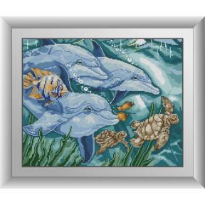 Набор для рисования камнями алмазная живопись Dream Art Три дельфина (квадратные, полная) 30537D