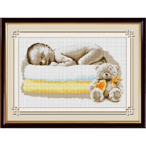 Набор для рисования камнями алмазная живопись Dream Art Сладкий сон малыша. (квадратные, полная) 30561D