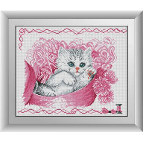 Набор для рисования камнями алмазная живопись Dream Art Кошечка в коробке (квадратные, полная) 30572D