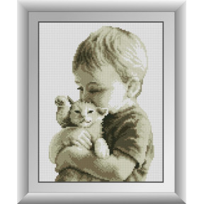 Набор для рисования камнями алмазная живопись Dream Art Малыш с котенком (квадратные, полная) 30583D