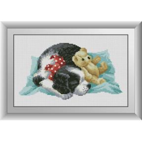 Набор для рисования камнями алмазная живопись Dream Art Спящий щенок (квадратные, полная) 30587D