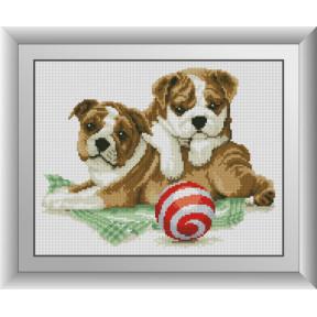 Набор для рисования камнями алмазная живопись Dream Art Два щенка (квадратные, полная) 30630D