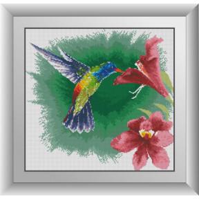Набор для рисования камнями алмазная живопись Dream Art Колибри с гибискусом (квадратные, полная) 30642D