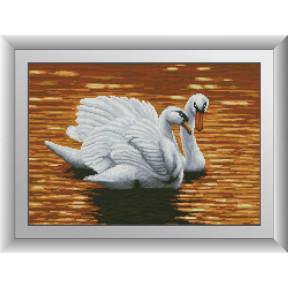 Набор для рисования камнями алмазная живопись Dream Art Вечер на озере (лебеди) (квадратные, полная) 30668D