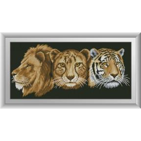 Набор для рисования камнями алмазная живопись Dream Art Хищные кошки (квадратные, полная) 30701D