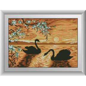 Набор для рисования камнями алмазная живопись Dream Art Вечер на озере (лебеди) (квадратные, полная) 30733D