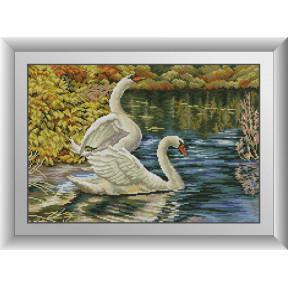 Набор для рисования камнями алмазная живопись Dream Art Лебеди (квадратные, полная) 30790D