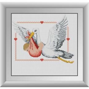 Набор для рисования камнями алмазная живопись Dream Art Метрика аист девочка (квадратные, полная) 30797D