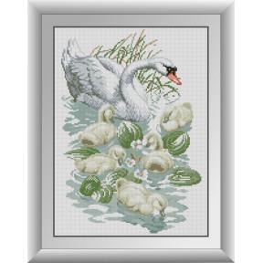 Набор для рисования камнями алмазная живопись Dream Art Лебедь с птенцами (квадратные, полная) 30896D