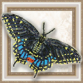 Набор для вышивки бисером бабочки на прозрачной основе Вдохновение Черный Махаон BGP-003