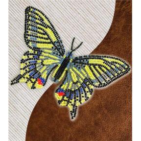 Набор для вышивки бисером бабочки с водорастворимым флизелином Вдохновение Махаон  NBFL-002