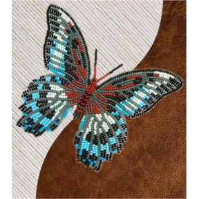 Набор для вышивки бисером бабочки с водорастворимым флизелином Вдохновение Парусник Полимнестор NBFL-004