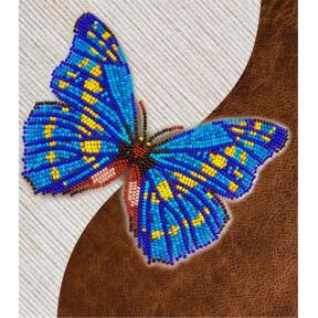 Набор для вышивки бисером бабочки с водорастворимым флизелином Вдохновение Морфо Киприда NBFL-010