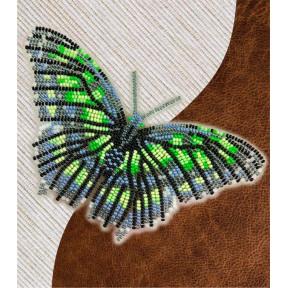 Набор для вышивки бисером бабочки с водорастворимым флизелином Вдохновение Малахитовая NBFL-013