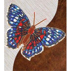 Набор для вышивки бисером бабочки с водорастворимым флизелином Вдохновение Красный Павлин NBFL-028