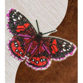 Набор для вышивки бисером бабочки с водорастворимым флизелином Вдохновение Адмирал красный NBFL-036