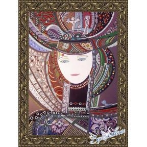 Схема на ткани для вышивания бисером Вдохновение Девушка в шляпе БГК3003