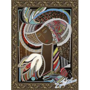 Схема на ткани для вышивания бисером Вдохновение Девушка в шляпе 2 БГК3004