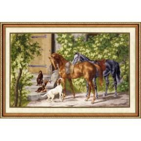 Набор для вышивки Золотое Руно Лошади у крыльца 00-004