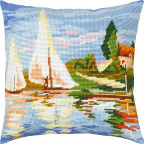 Набор для вышивки подушки Чарівниця Пейзаж «Регата в Аржантёе», К. Моне V-318
