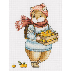 Набор для вышивки крестом Panna Хомяк с мандаринами Ж-7137