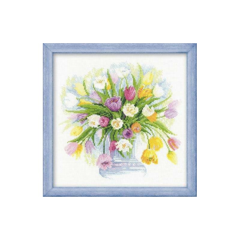 Тюльпаны риолис вышивка амк 001