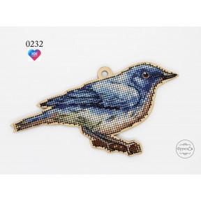 """Набор для вышивки крестом на деревянной основе ФрузелОк """"Синий соловей""""0232"""