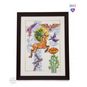 """Набор для вышивки крестом на деревянной основе ФрузелОк """"Олень"""" 2012"""