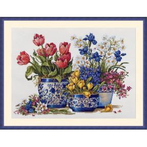 Весенний сад в синем Мережка Набор для вышивания крестом К-195
