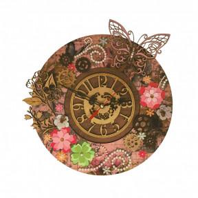 Цветочное время Набор для вышивки часов Нова Слобода РТ7001