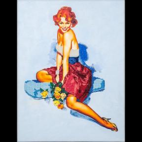 Девушка с розами Набор для вышивки бисером Волшебная страна FLF-021
